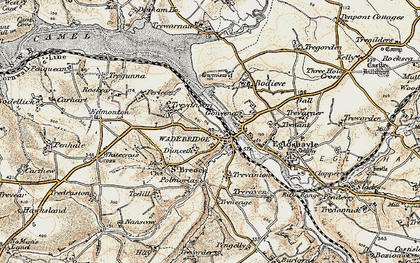 Old map of Wadebridge in 1900