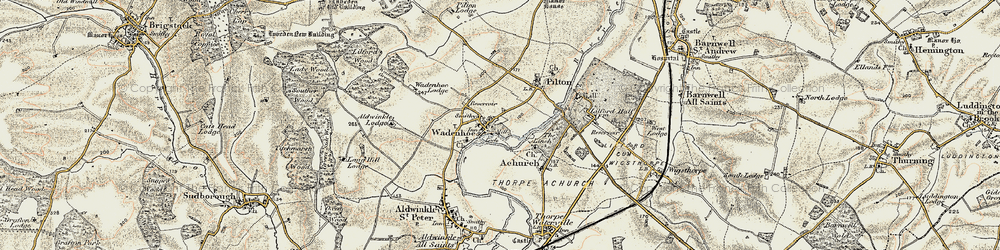 Old map of Aldwincle Lodge in 1901-1902