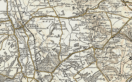 Old map of Waen Goleugoed in 1902-1903