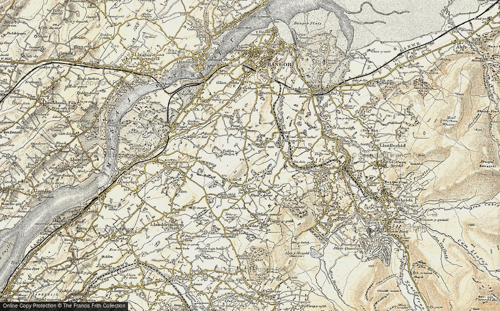 Old Map of Historic Map covering Afon Cegin in 1903-1910