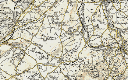 Old map of Afon Cegin in 1903-1910