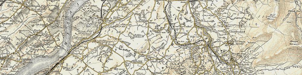 Old map of Afon Cegin in 1903-1910