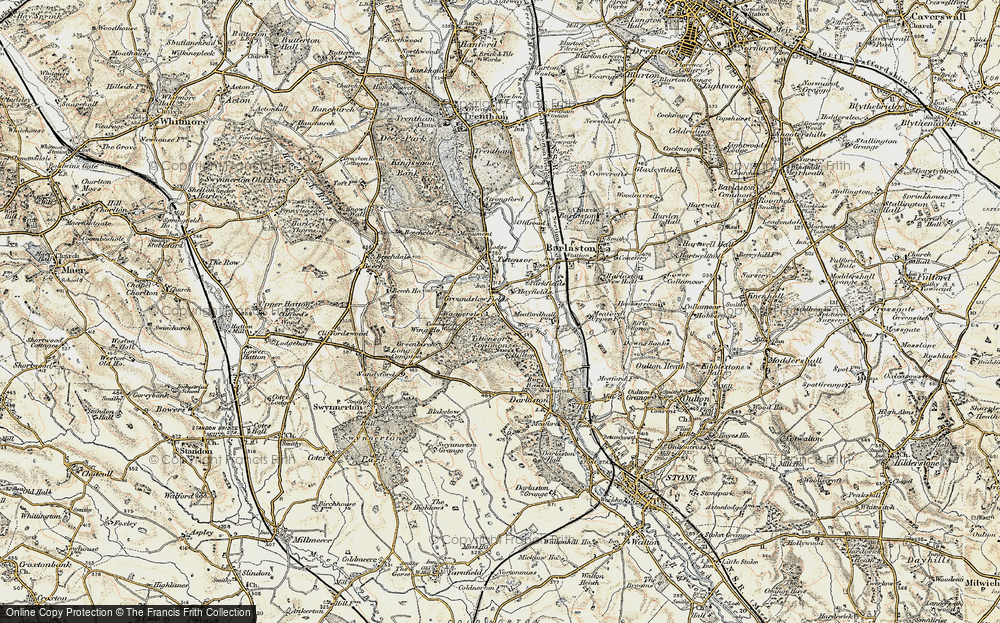 Old Map of Historic Map covering Tittensor Chase in 1902