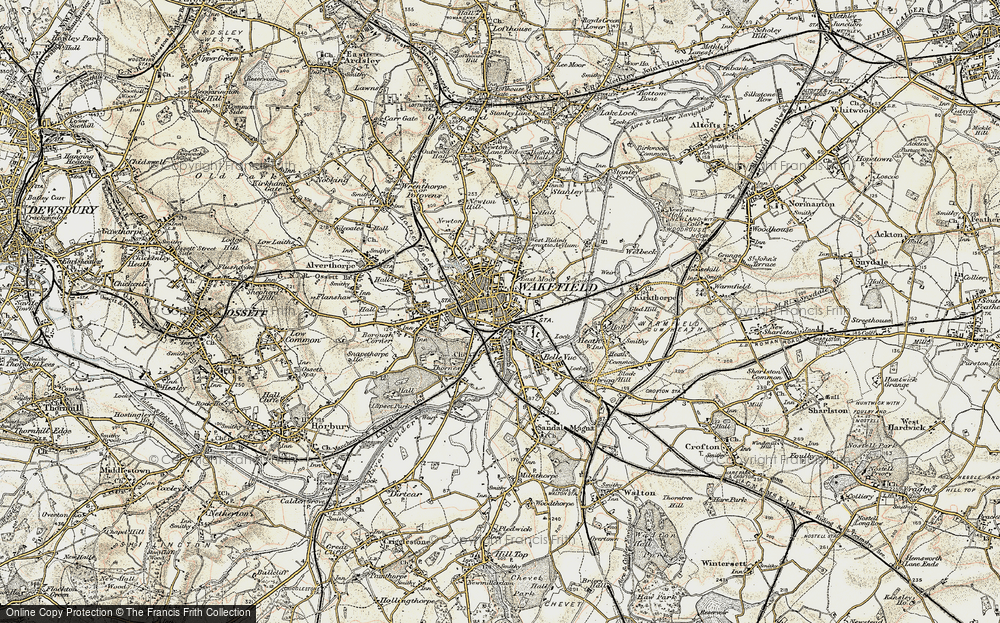 Old Map of Historic Map covering Wakefield in 1903