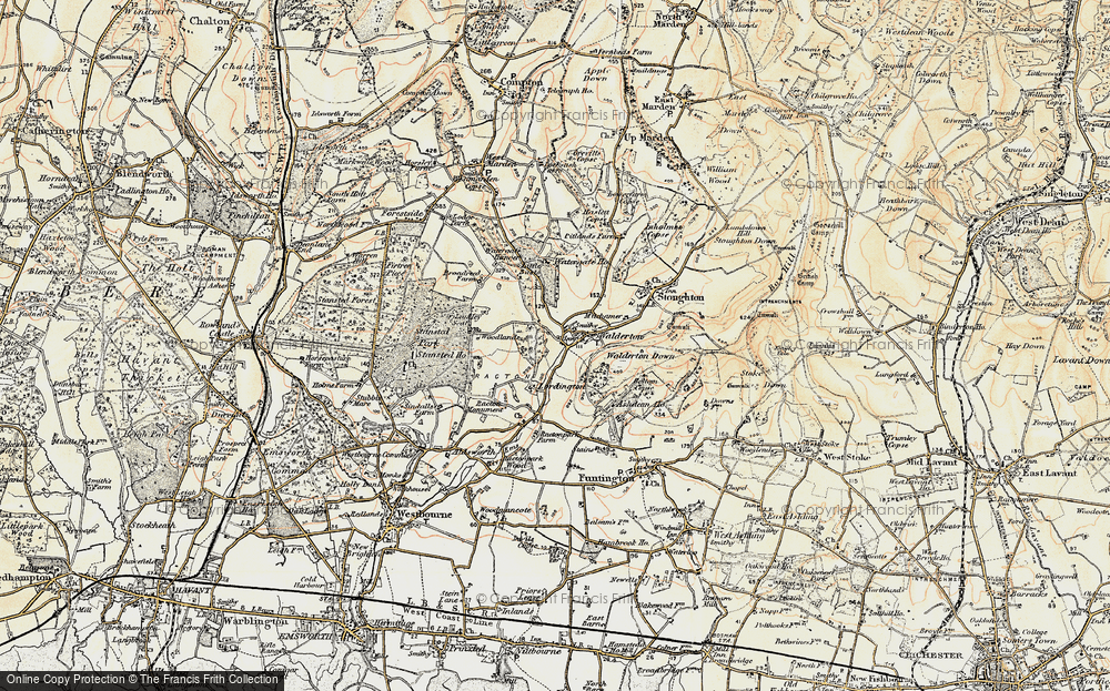 Old Map of Historic Map covering Woodlands Cotts in 1897-1899
