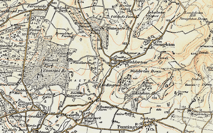 Old map of Woodlands Cotts in 1897-1899
