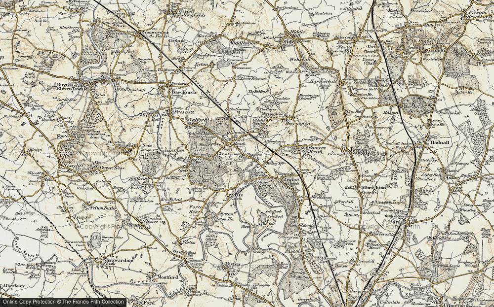 Old Map of Historic Map covering Old Woods in 1902