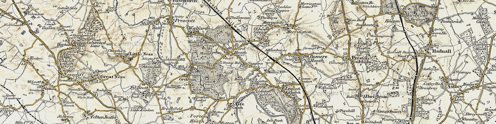 Old map of Old Woods in 1902