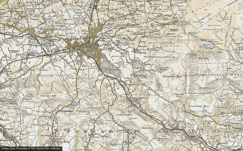 Old Map of Historic Map covering Barcroft in 1903