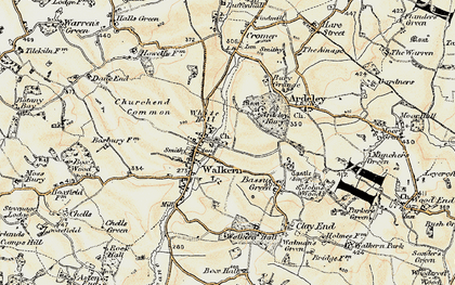 Old map of Walkern in 1898-1899