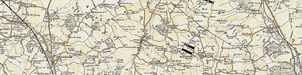 Old map of Walkern in 1898-1899
