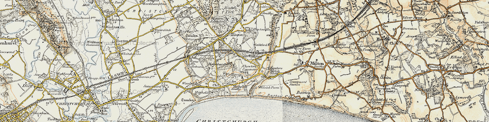 Old map of Walkford in 1897-1909