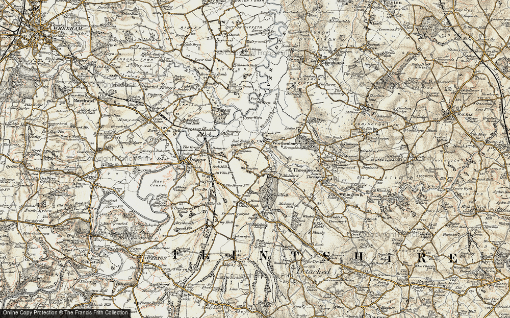 Old Map of Historic Map covering Worthenbury Brook in 1902
