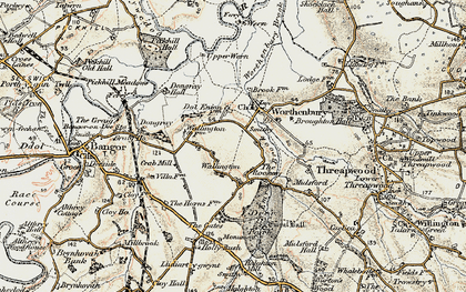 Old map of Worthenbury Brook in 1902