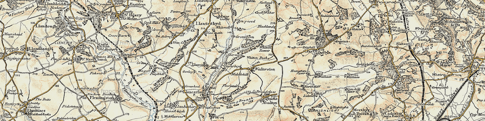 Old map of Whitewell in 1899-1900