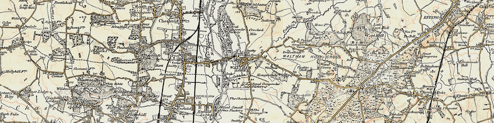 Old map of Waltham Abbey in 1897-1898
