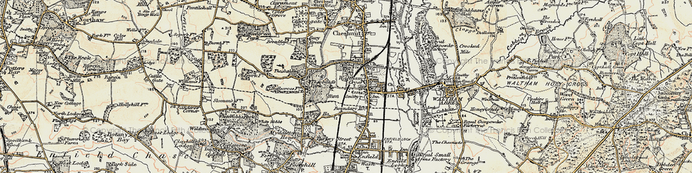 Old map of Waltham Cross in 1897-1898