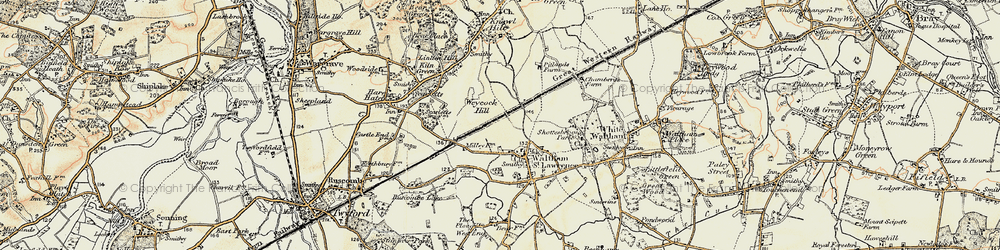 Old map of Weycock Hill in 1897-1909