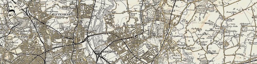 Old map of Walthamstow in 1897-1898