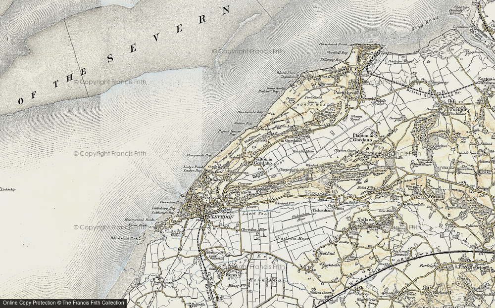 Old Map of Historic Map covering Walton Bay in 1899