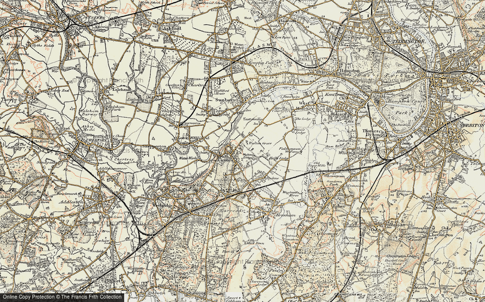 Old Map of Walton-on-Thames, 1897-1909 in 1897-1909
