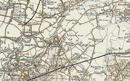 Old map of Walton-on-Thames in 1897-1909
