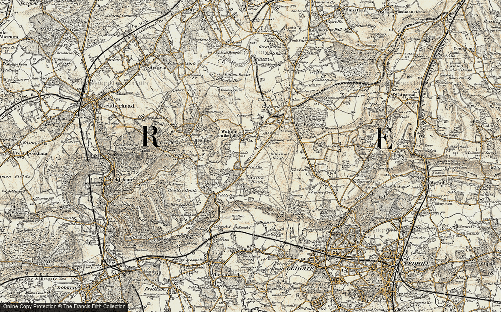 Old Map of Historic Map covering Banstead Heath in 1897-1909