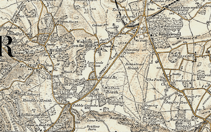 Old map of Banstead Heath in 1897-1909
