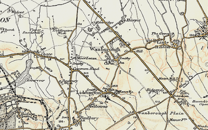 Old map of Wanborough in 1897-1899