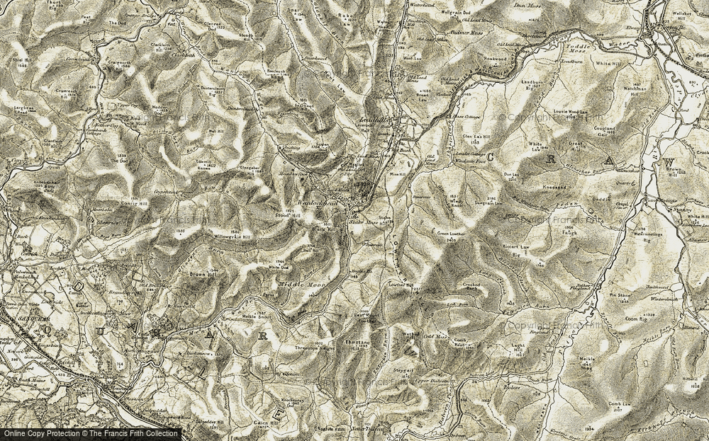 Old Map of Historic Map covering Willowgrain Hill in 1904-1905
