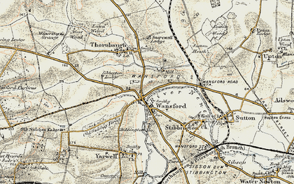 Old map of Wansford in 1901-1903