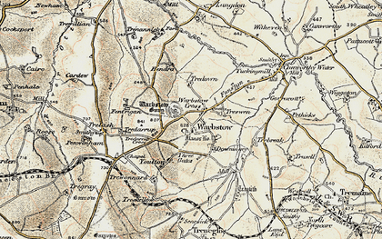 Old map of Warbstow Cross in 1900