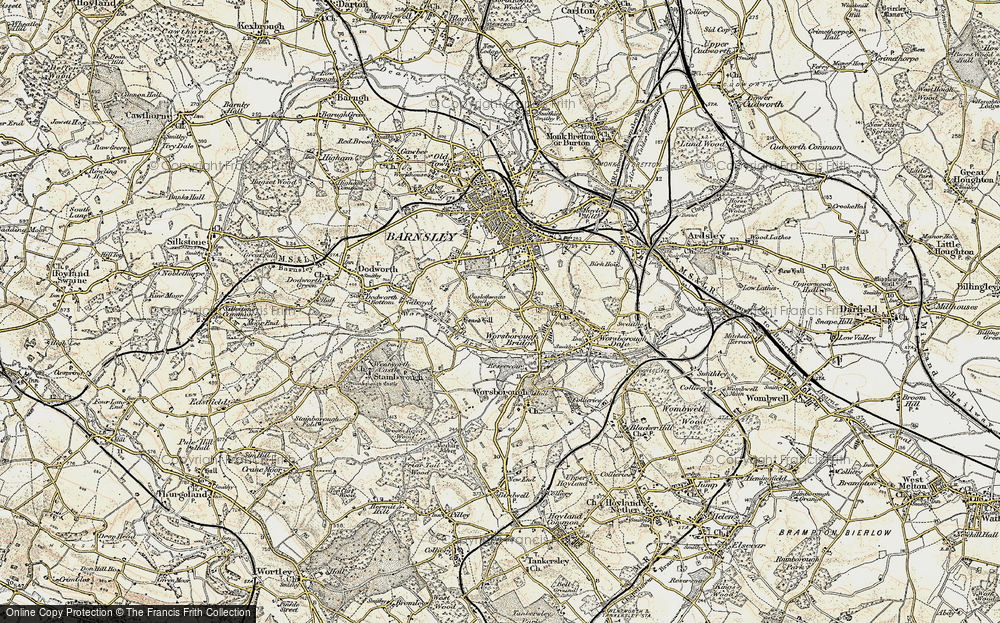 Old Map of Historic Map covering Worsbrough Country Park in 1903