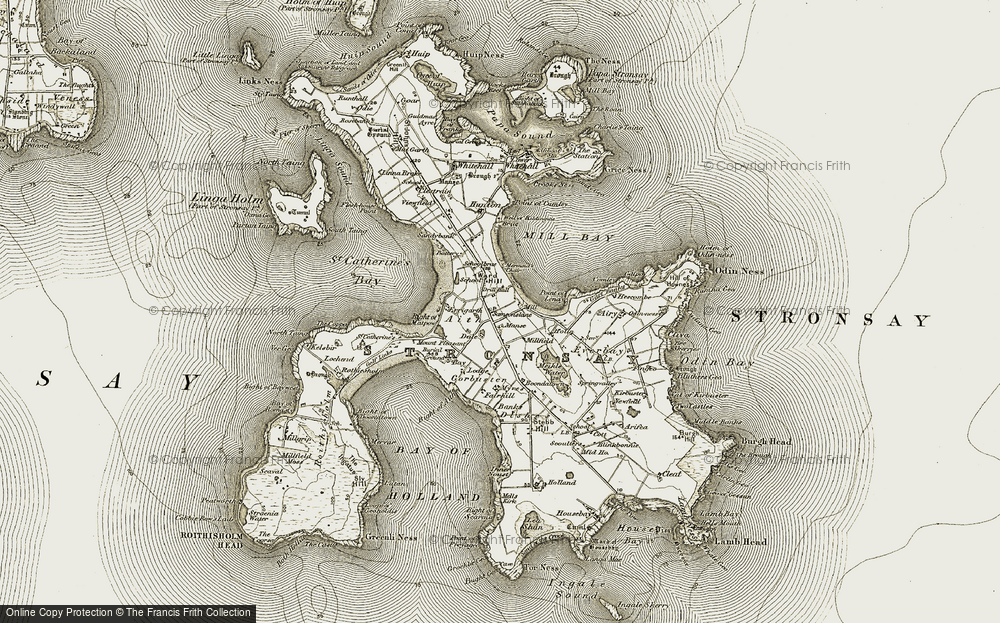 Old Map of Historic Map covering Aith in 1911-1912