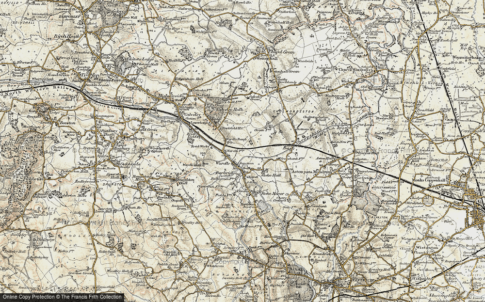 Old Map of Historic Map covering Barbridge Junction in 1902-1903