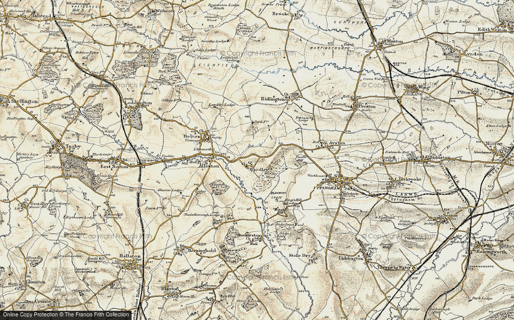 Old Map of Historic Map covering Allexton Wood in 1901-1903
