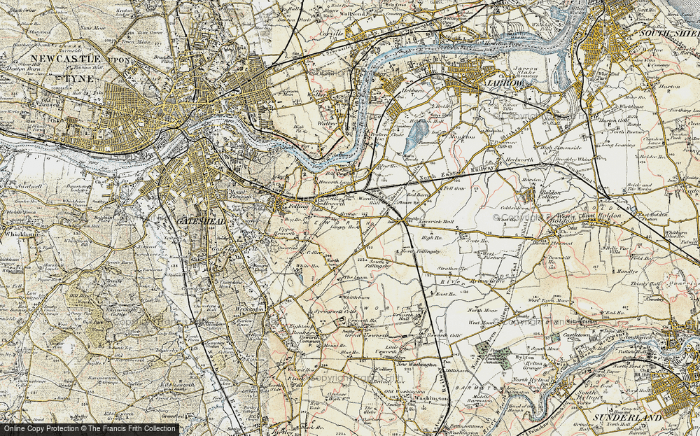Old Map of Historic Map covering Leam Lane in 1901-1904