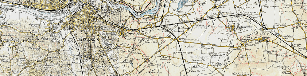 Old map of Leam Lane in 1901-1904
