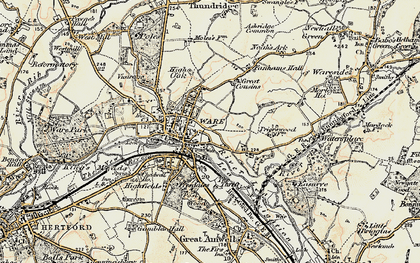 Old map of Ware in 1898-1899
