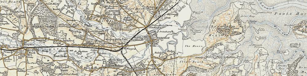 Old map of Wareham in 1899-1909