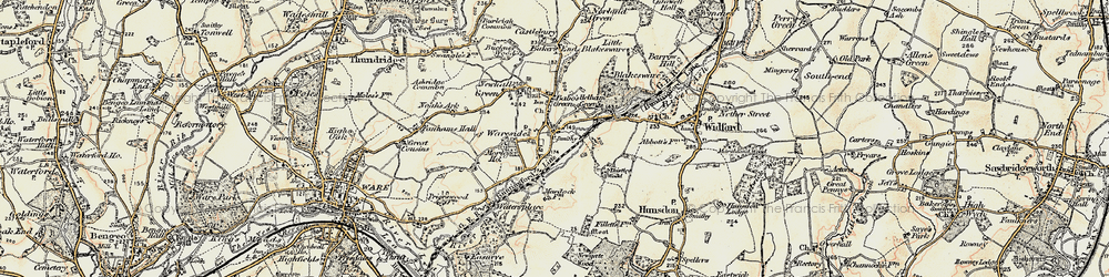 Old map of Wareside in 1898-1899