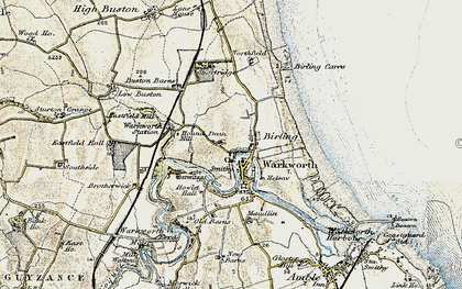 Old map of Warkworth in 1901-1903