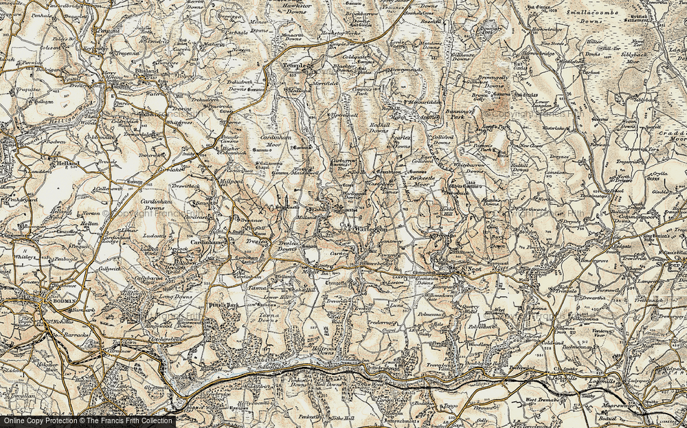 Old Map of Historic Map covering Letter Moor in 1900
