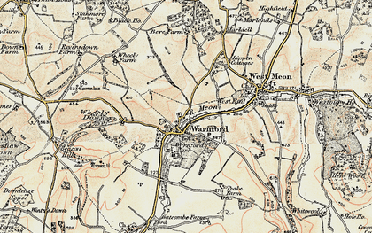 Old map of Wheely Down in 1897-1900