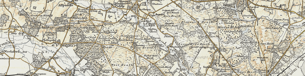 Old map of Woodlands in 1899-1909