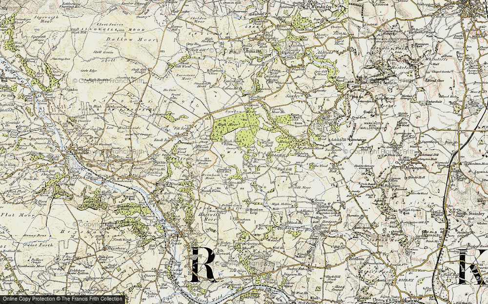 Old Map of Historic Map covering Brimham Rocks in 1903-1904