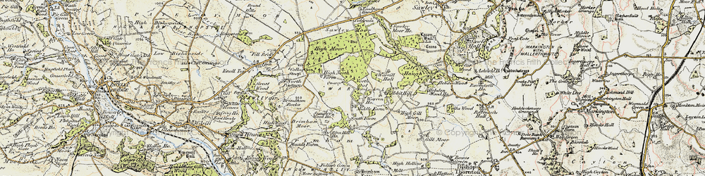 Old map of Brimham Rocks in 1903-1904