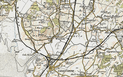 Old map of Warton in 1903-1904