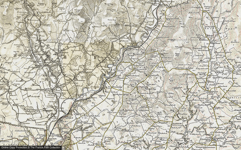 Old Map of Historic Map covering Liddel Water in 1901-1904