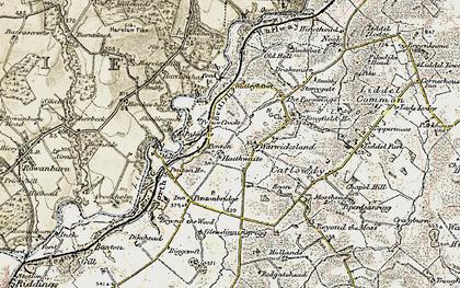 Old map of Liddel Water in 1901-1904